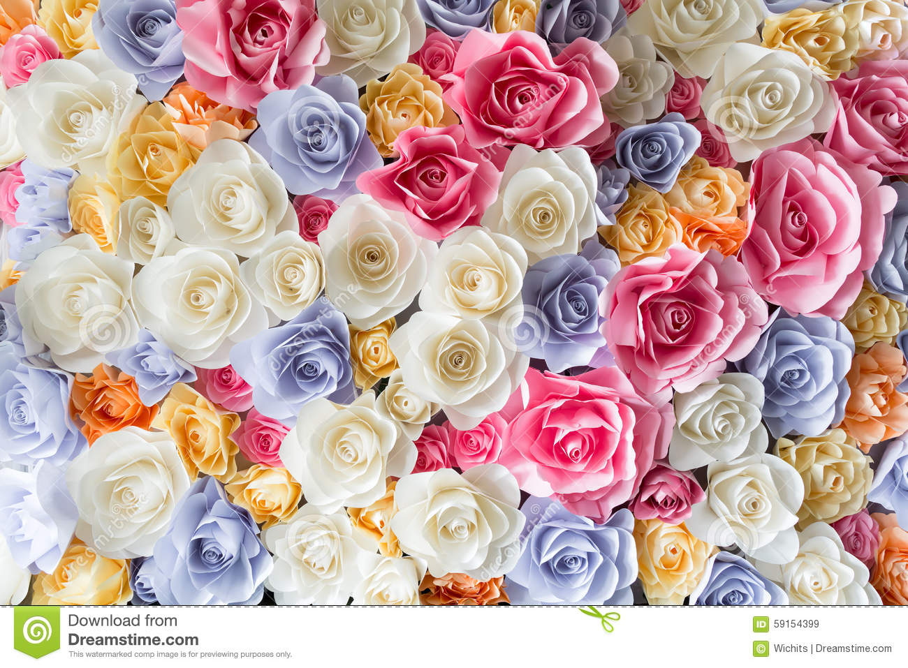backdrop of colorful paper roses stock image image of
