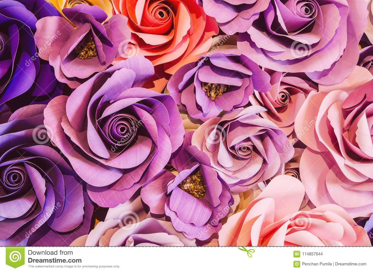 Backdrop Of Colorful Paper Roses Background In A Wedding Stock