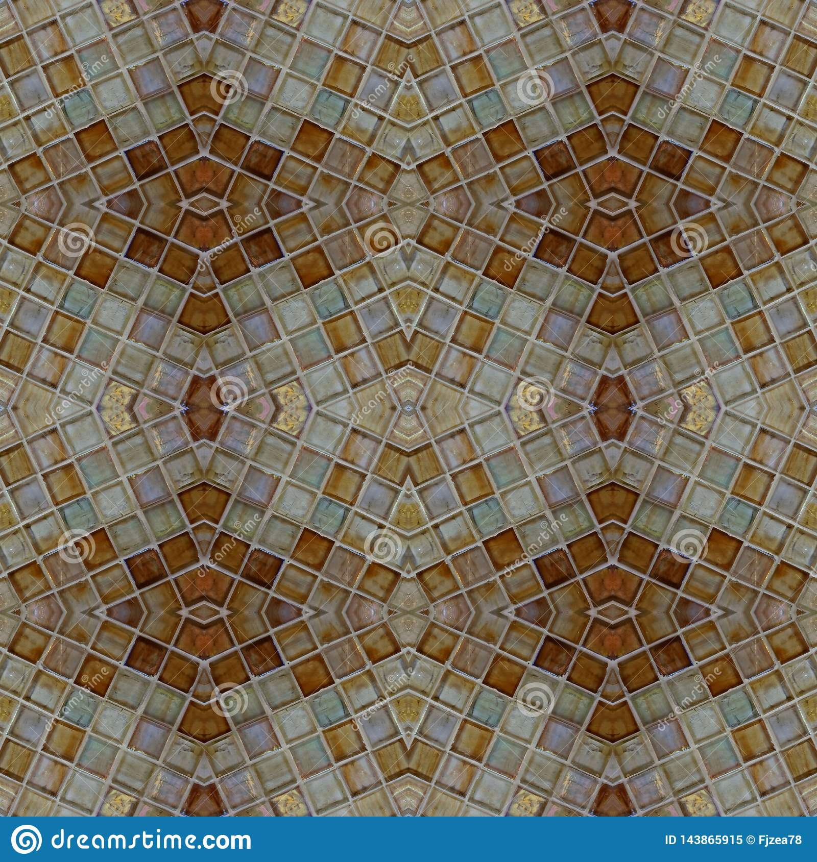 abstract design with glass blocks in brown colors, background and texture