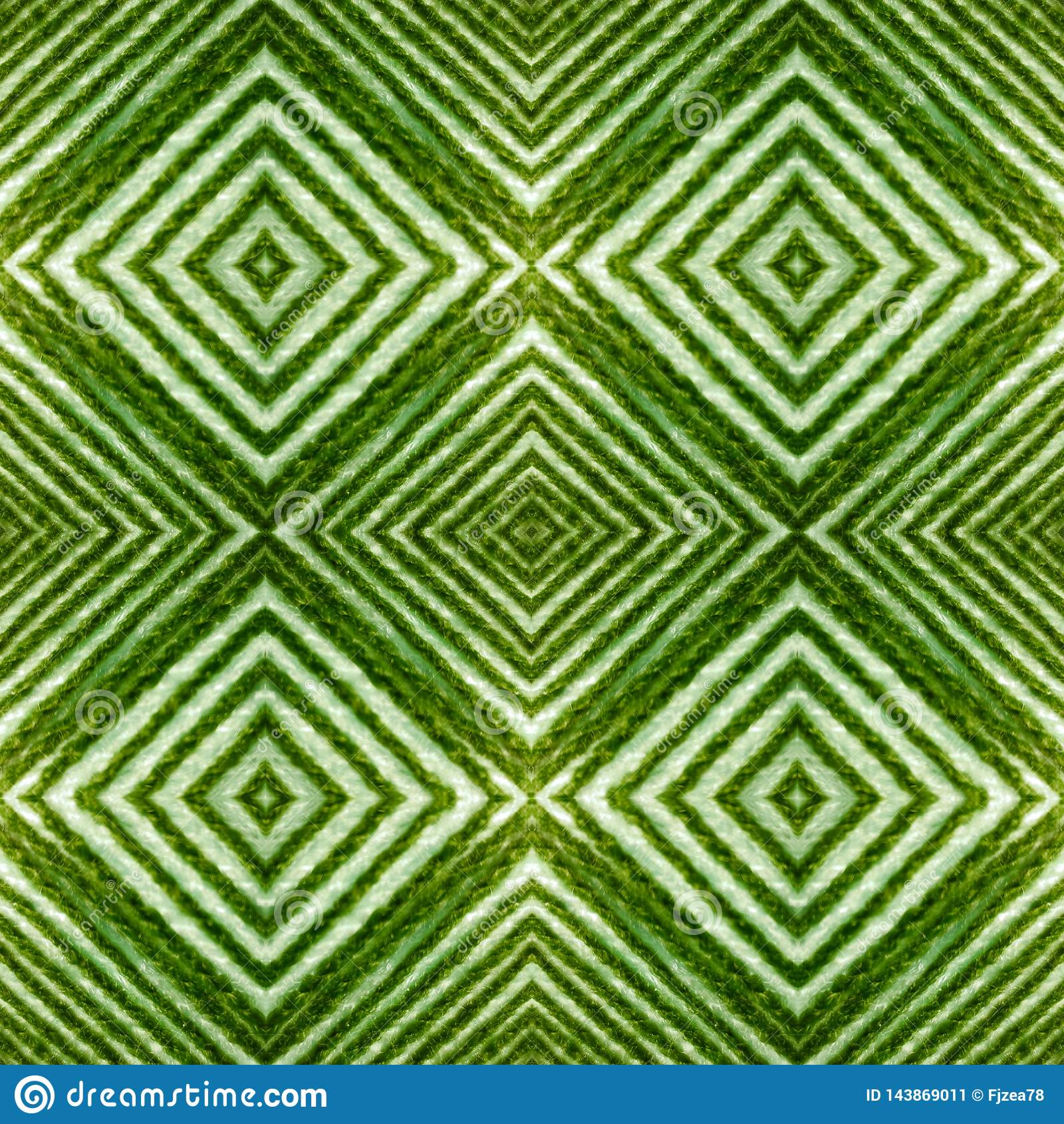 abstract design with lines and geometric patterns on a surface with green and white threads, background and texture