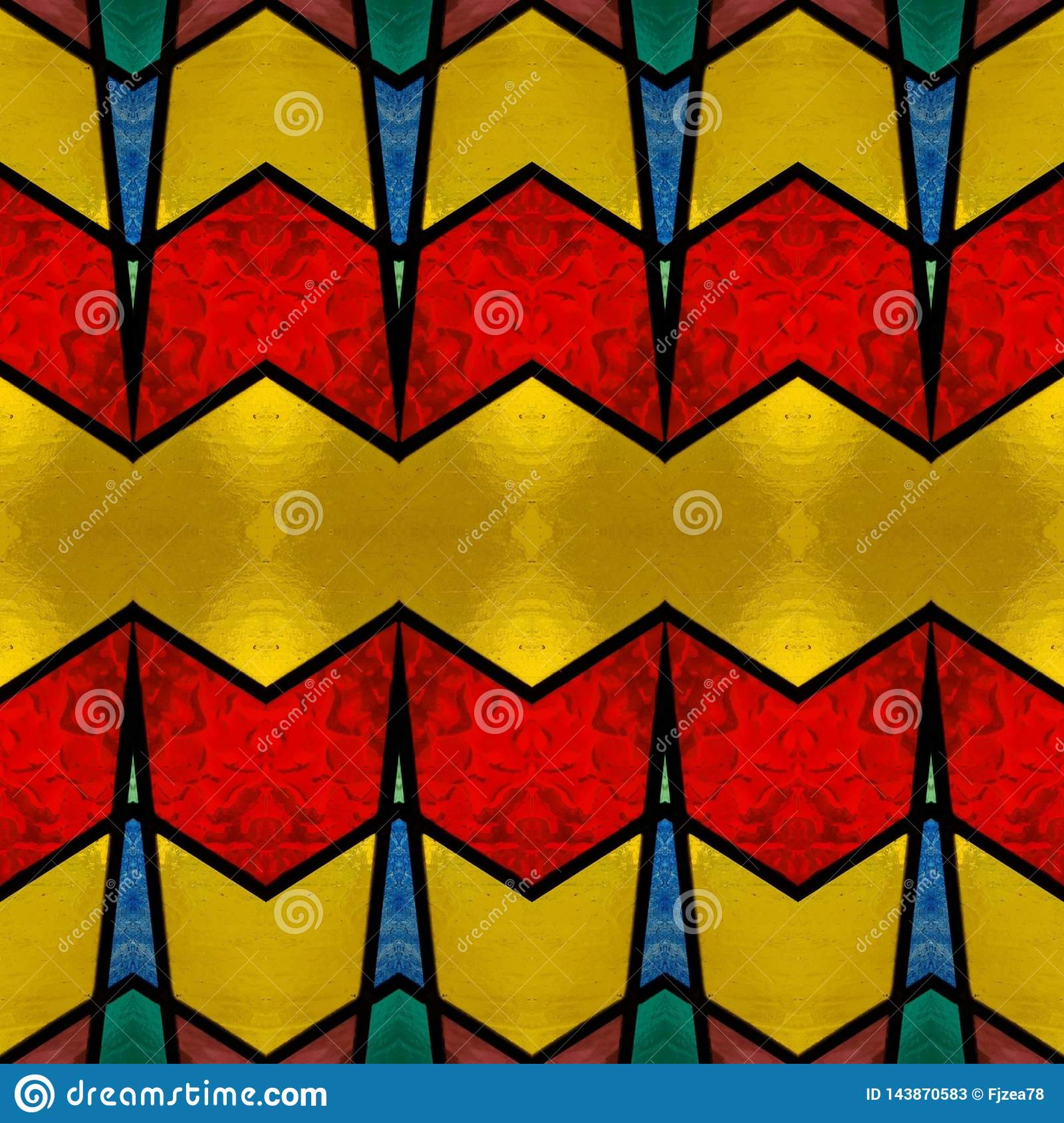 abstract design with stained glass in various colors, background and texture