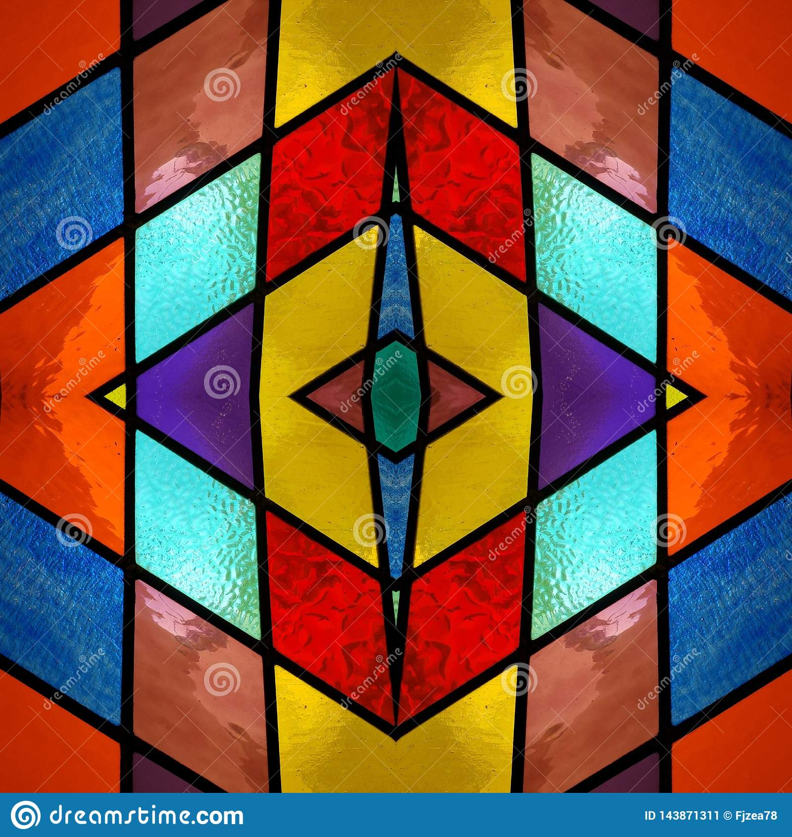 abstract design with stained glass in various colors, material for decoration of windows, background and texture