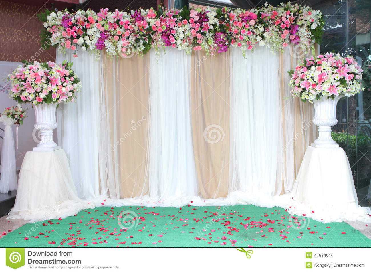 backdrop flowers arrangement for wedding ceremony stock photo