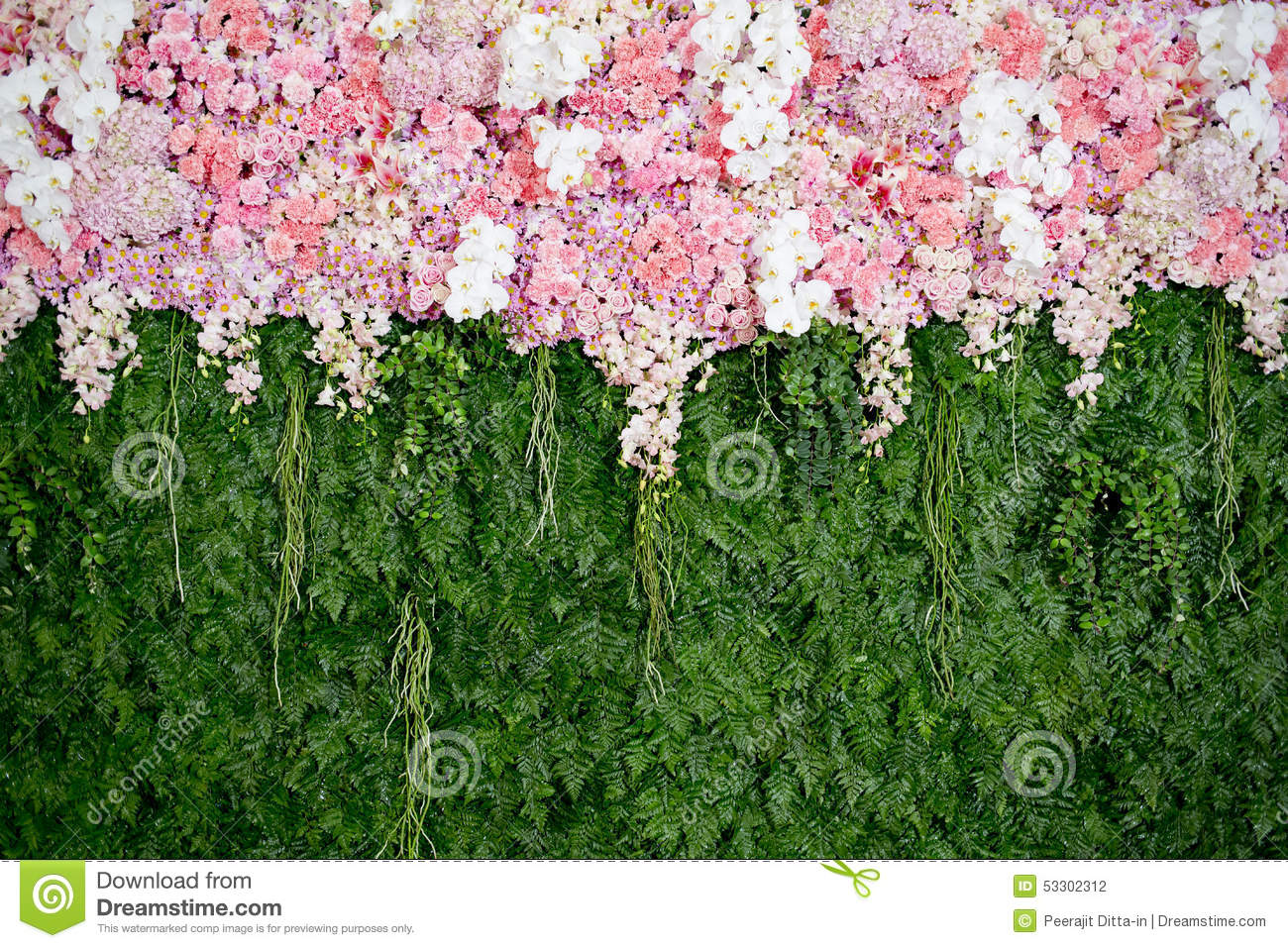 Backdrop Pink Flowers And Green Leaf Arrangement For Wedding Cer