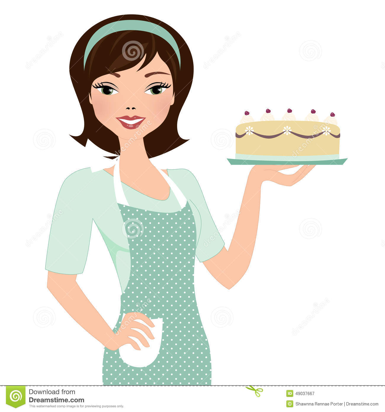 Lady Eating Cake Clipart