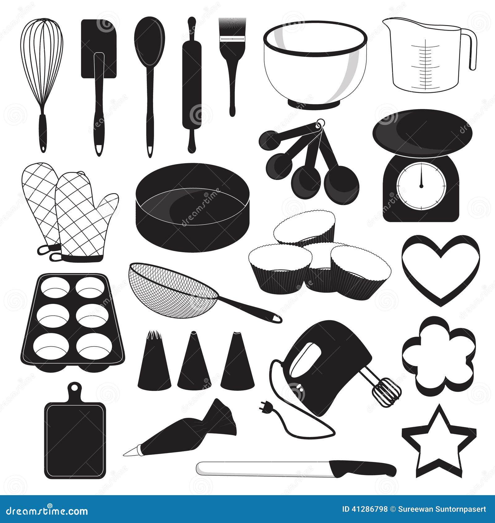Simple kitchen design tool - Backen Werkzeug Ikonen Eingestellt Vektor Abbildung Bild