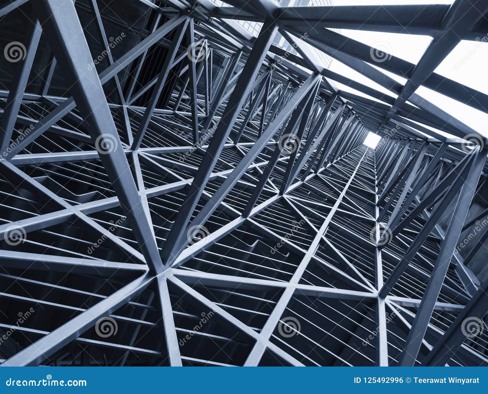 Backg för detalj för arkitektur för modell för ram för stålkonstruktionsmetall