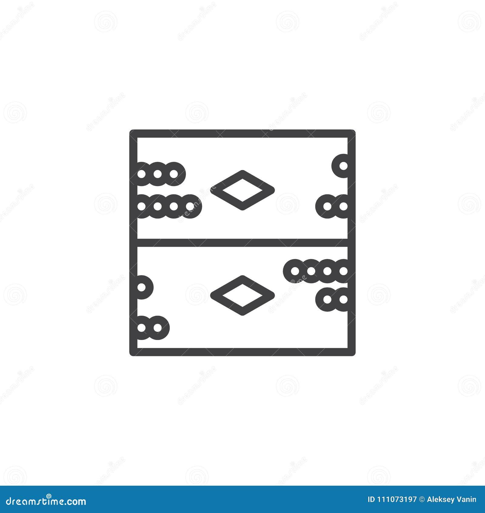 Backgammon Board Game Outline Icon Stock Vector Illustration Of - Game outline