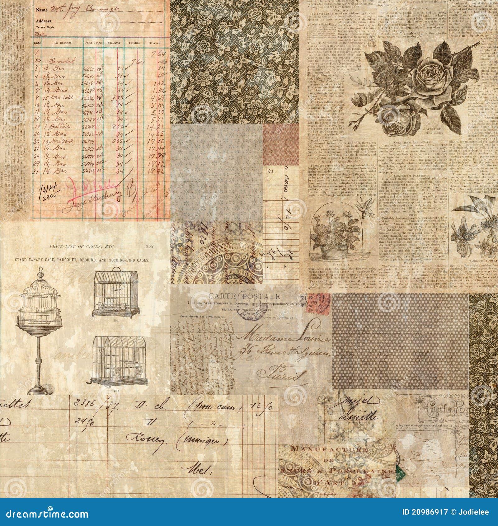 Backgroun sucio del collage de las Ephemeras de la postal de la vendimia