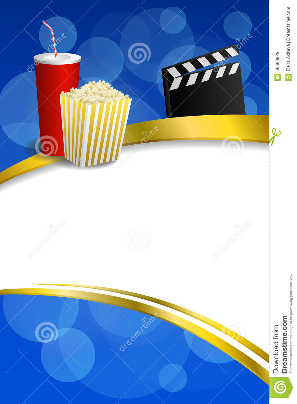 Background abstract blue gold red drink popcorn movie clapper board gold frame ribbon vertical illustration
