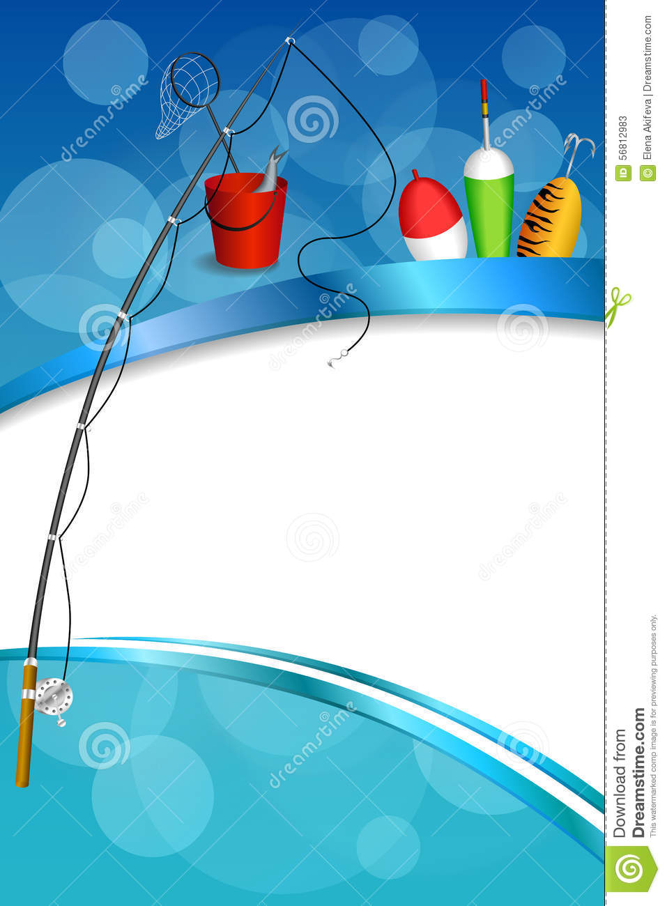 Background abstract blue white fishing rod red bucket fish for Fish photo frame