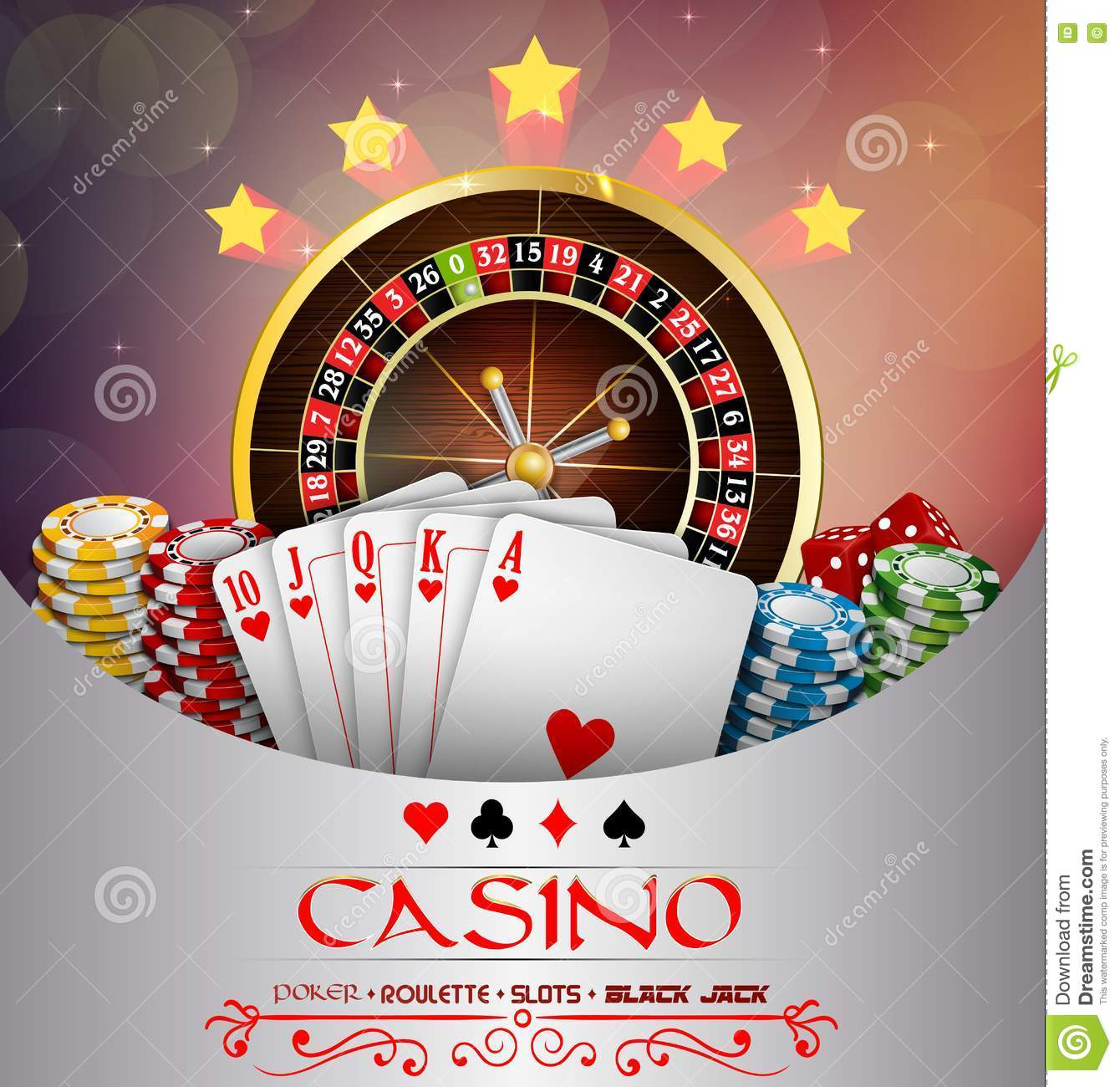 Background abstract brown with casino roulette wheel, and playing cards and chips