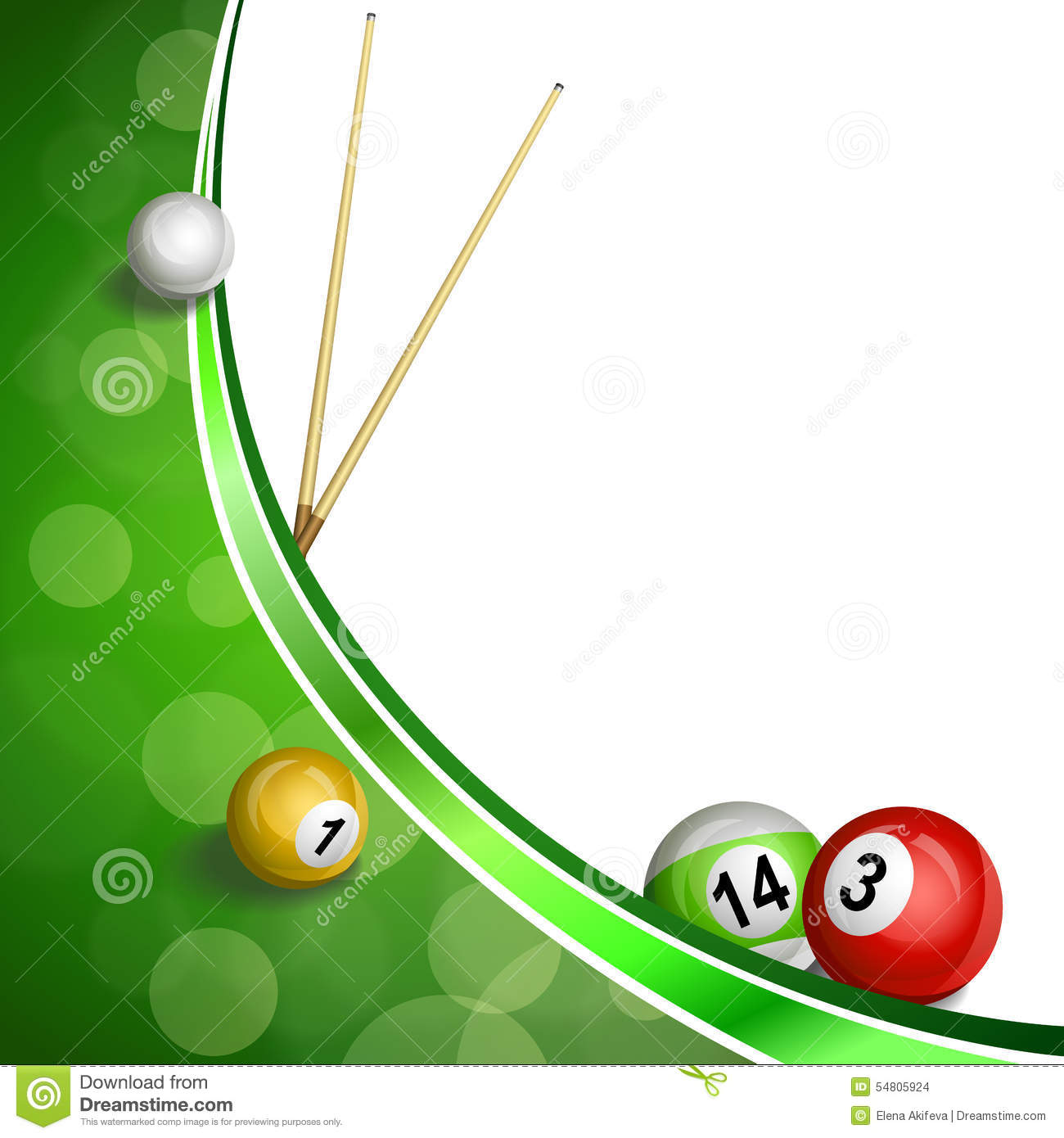 Background abstract green billiard pool cue ball illustration