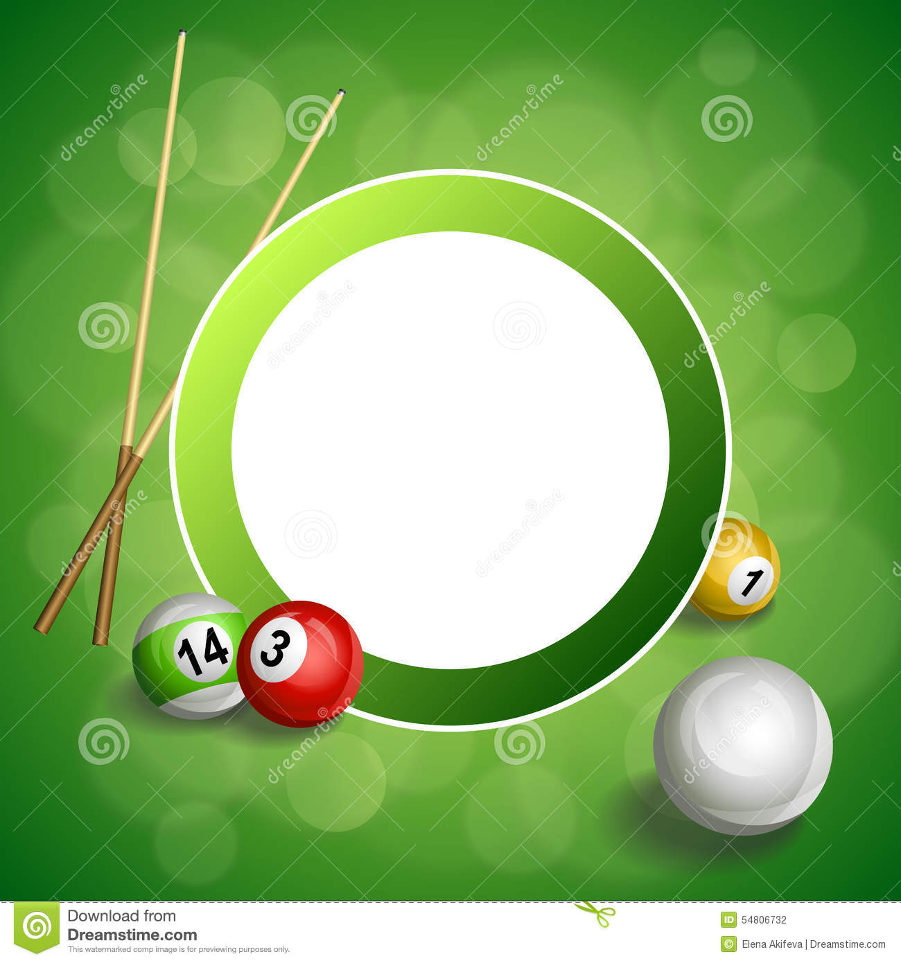 Background abstract green billiard pool cue red ball circle frame illustration