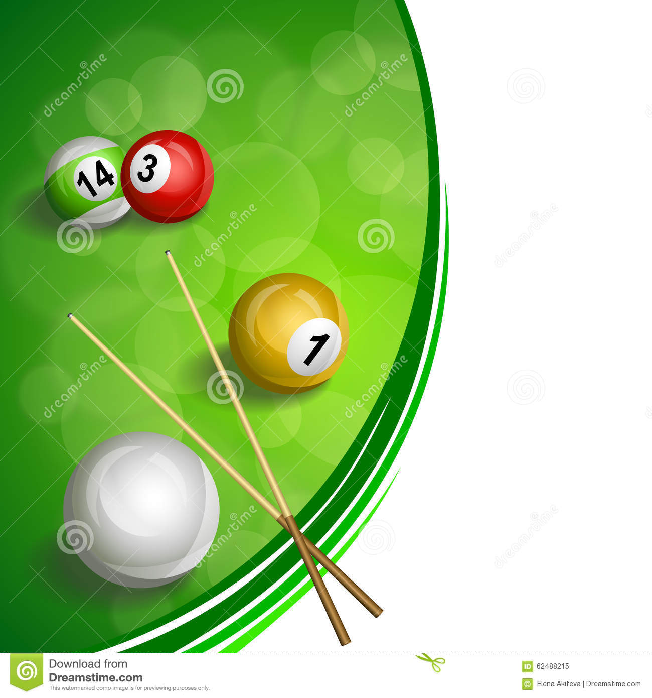 Background abstract green billiard pool cue red yellow white ball illustration