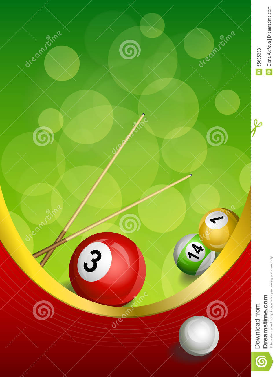 Background Abstract Green Billiards Pool Cue Red Ball