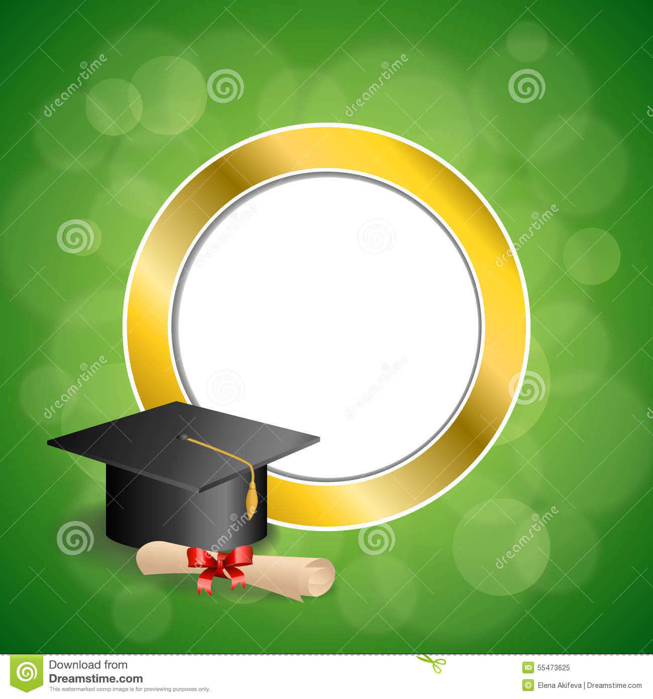 Background abstract green education graduation cap diploma red bow gold circle frame illustration