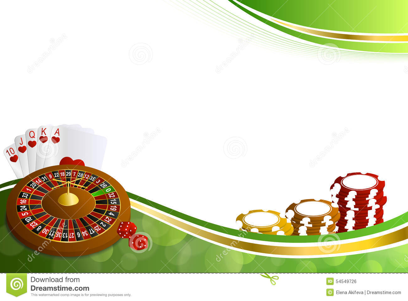 Background Abstract Green Gold Casino Roulette Cards Chips ...