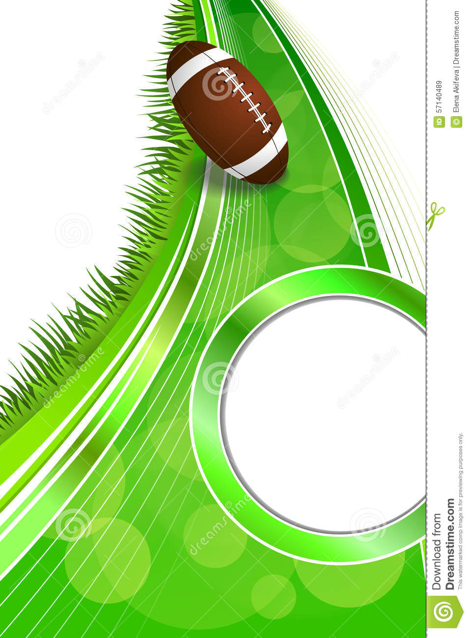 Stock Illustration Background Abstract Green Grass American Football Rugby Ball Gold Circle Vertical Frame Illustration Vector Image57140489 on Gold Circle Frame