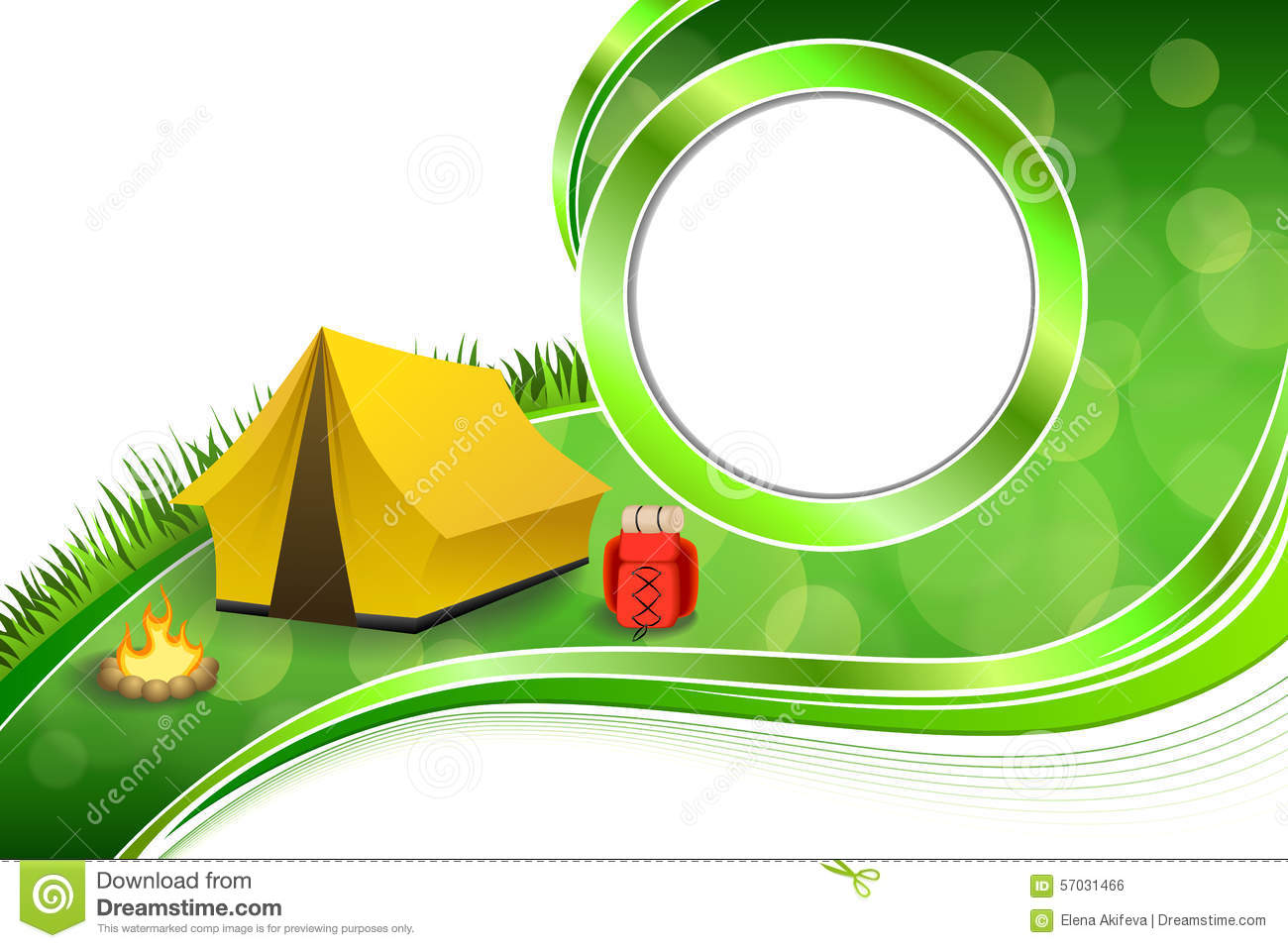 Background Abstract Green Grass Camping Tourism Yellow