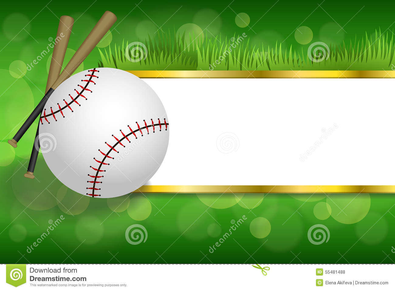 Background abstract green sport white baseball ball club gold strips frame illustration