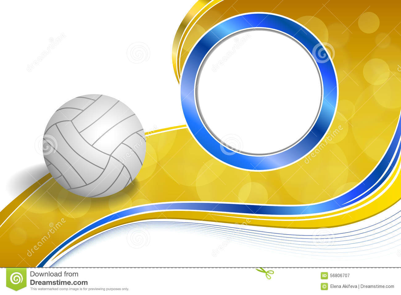 Background Abstract Volleyball Blue Yellow Ball Frame