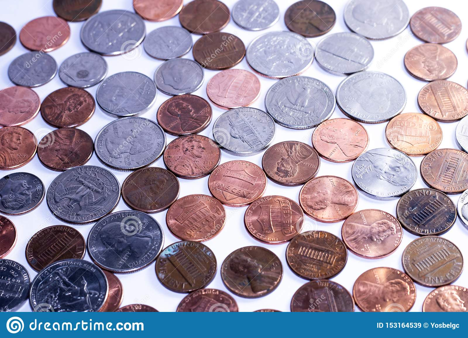 Background of american coins for economy purposes
