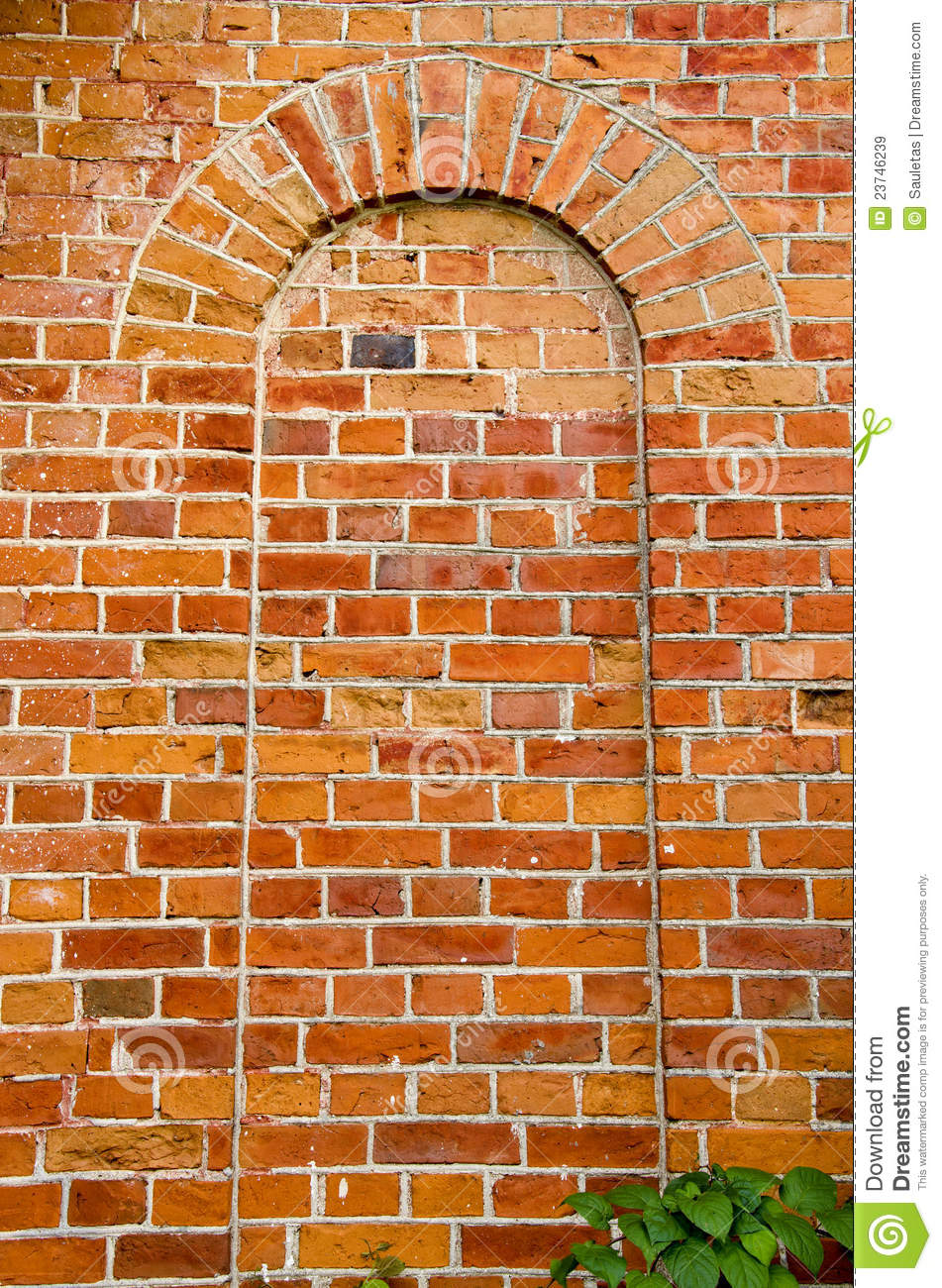 Background Ancient Red Brick Wall Arch Imitation Stock