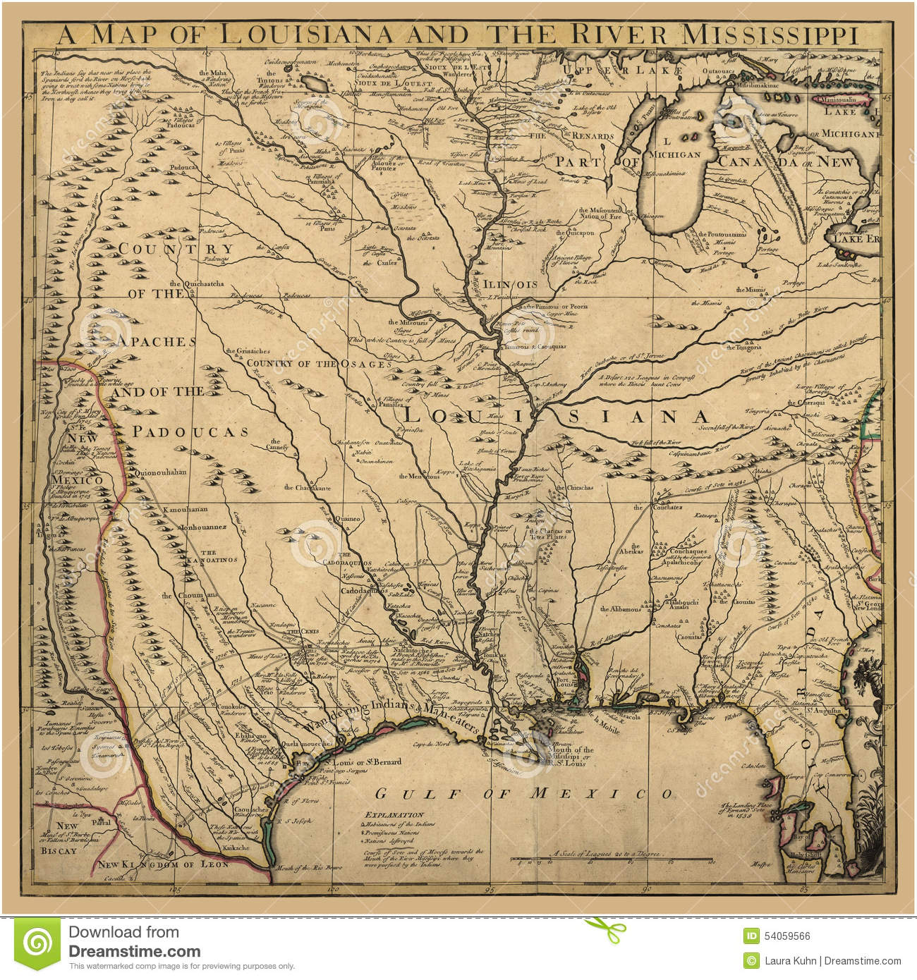 Background Art Ancient Map Louisiana Background Art