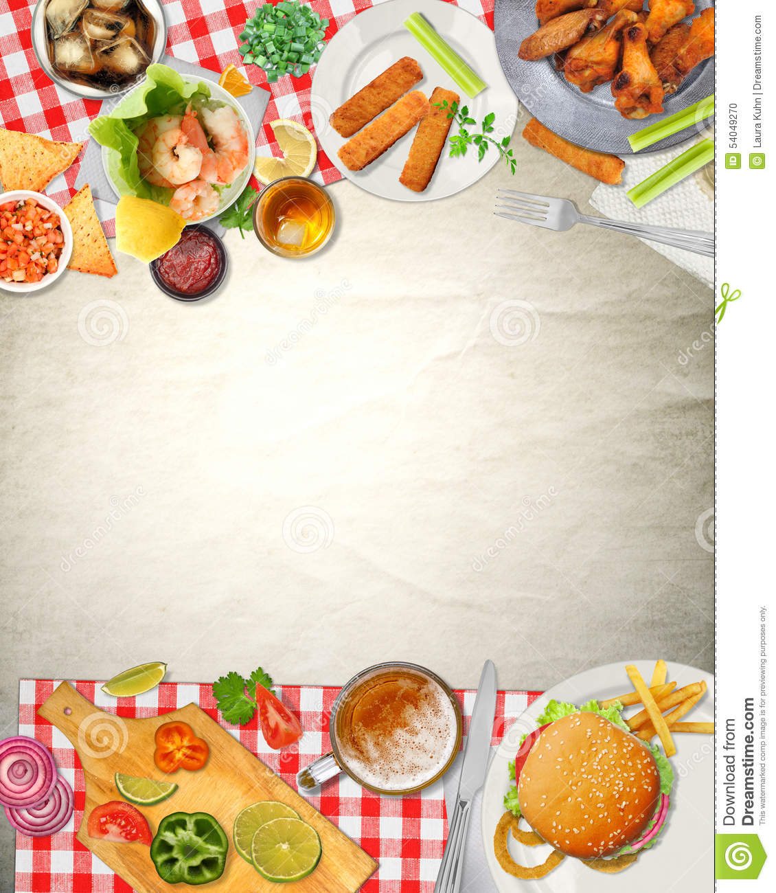 background art bar picnic cuisine food stock illustration