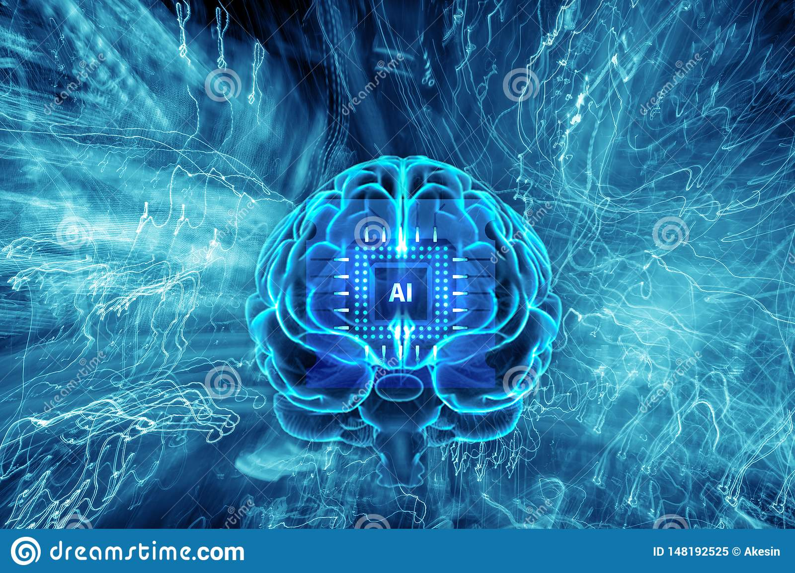 Background Of Artificial Intelligence  Human Brain With AI Computer