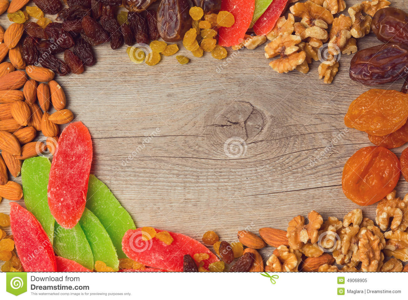 Background With Assorted Dry Fruits And Nuts View From