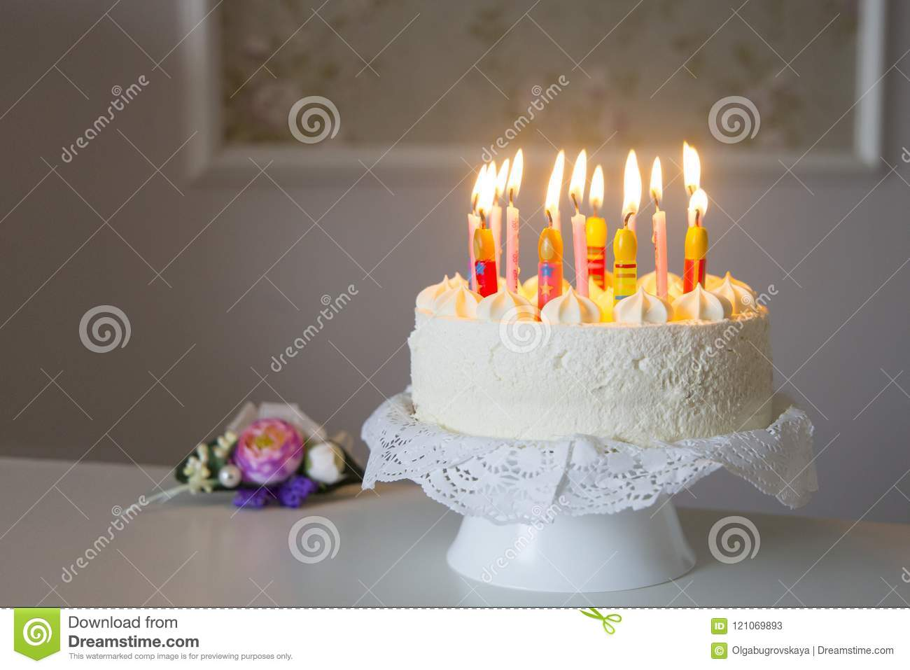 Happy Birthday Cake Greeting Card Space For Text Stock Image Image
