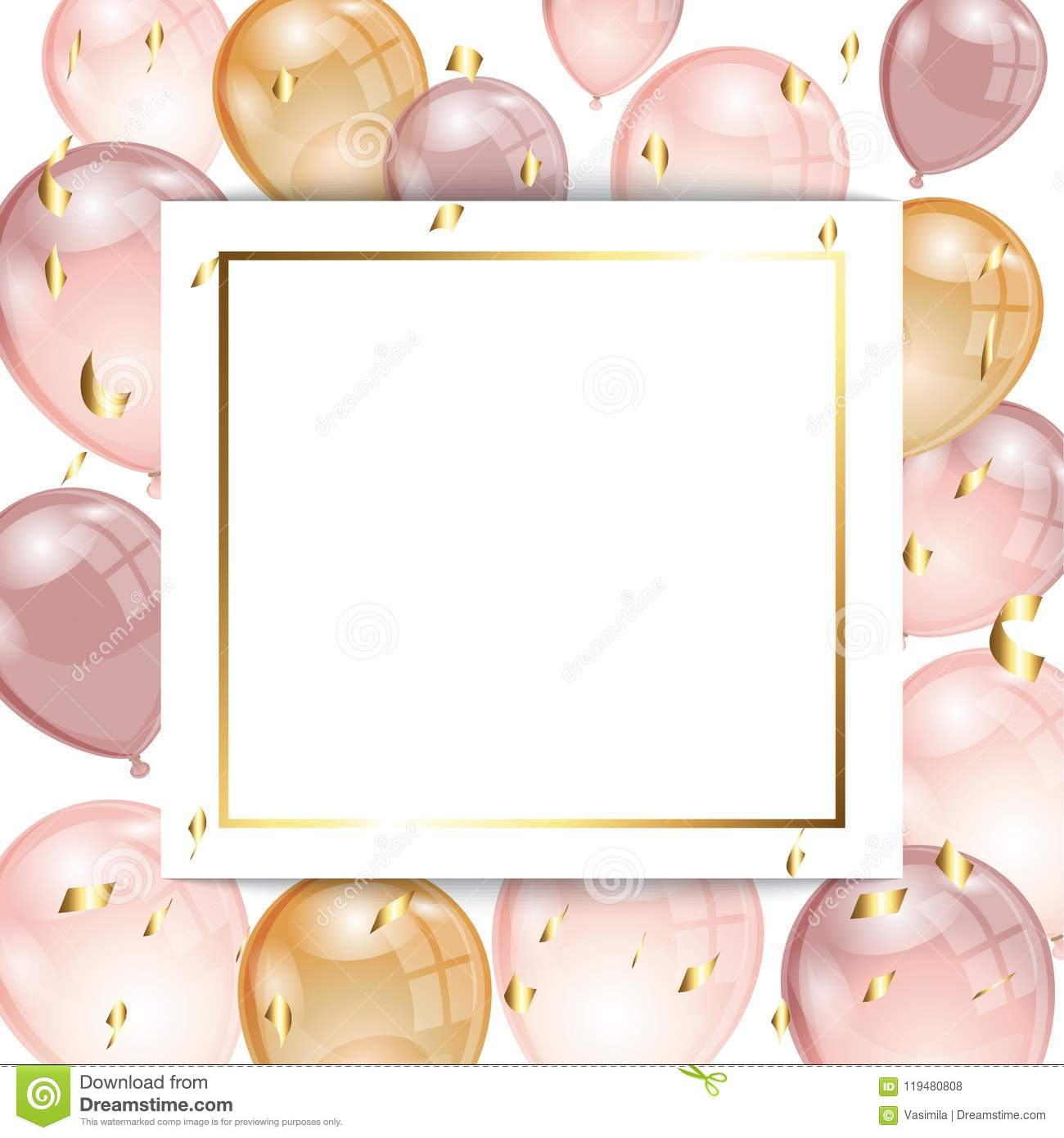 Background With Balloons And Confetti Stock Vector Illustration Of Rose Happy 119480808