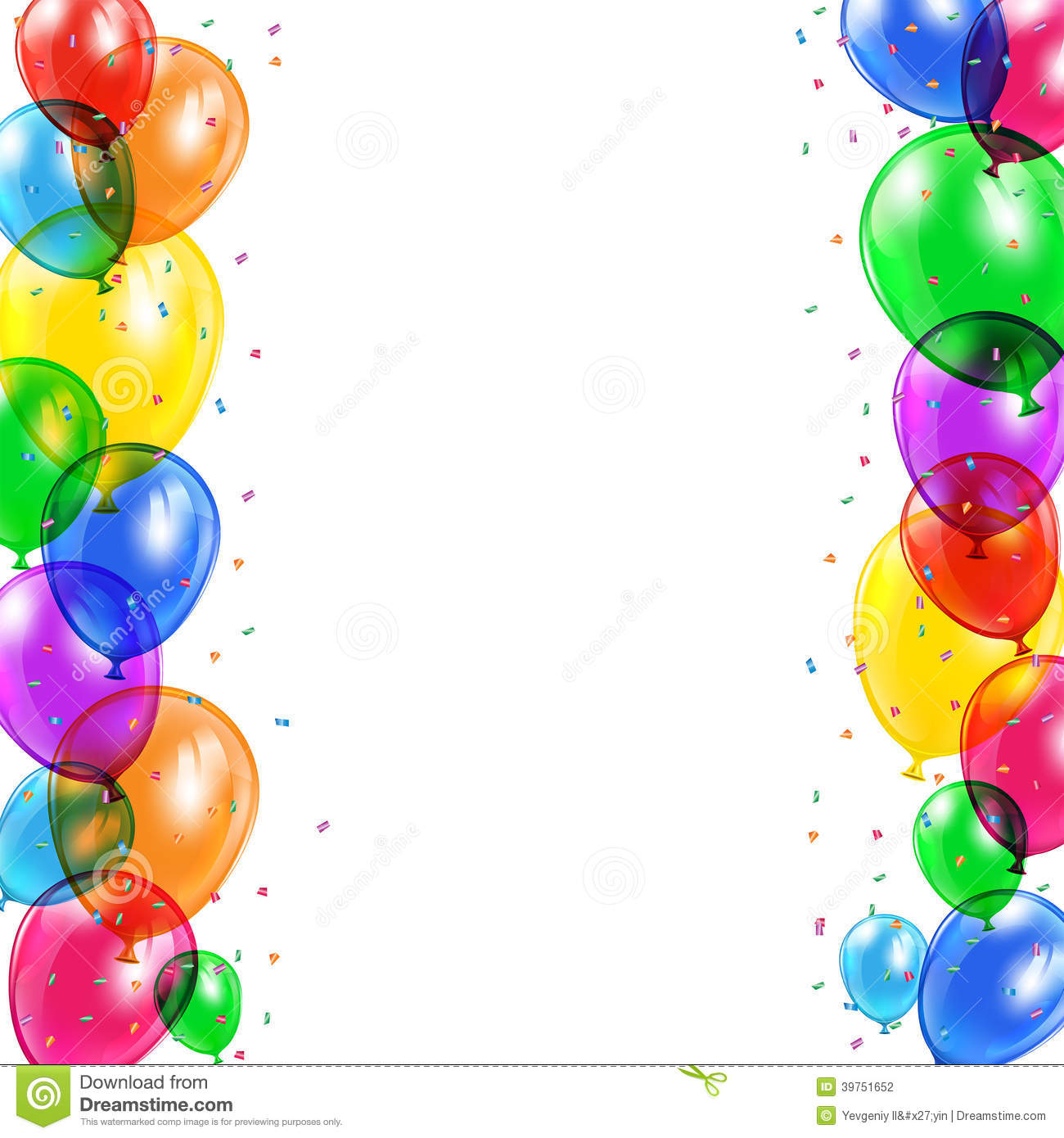 Set of colored balloons and confetti flying on white background ...
