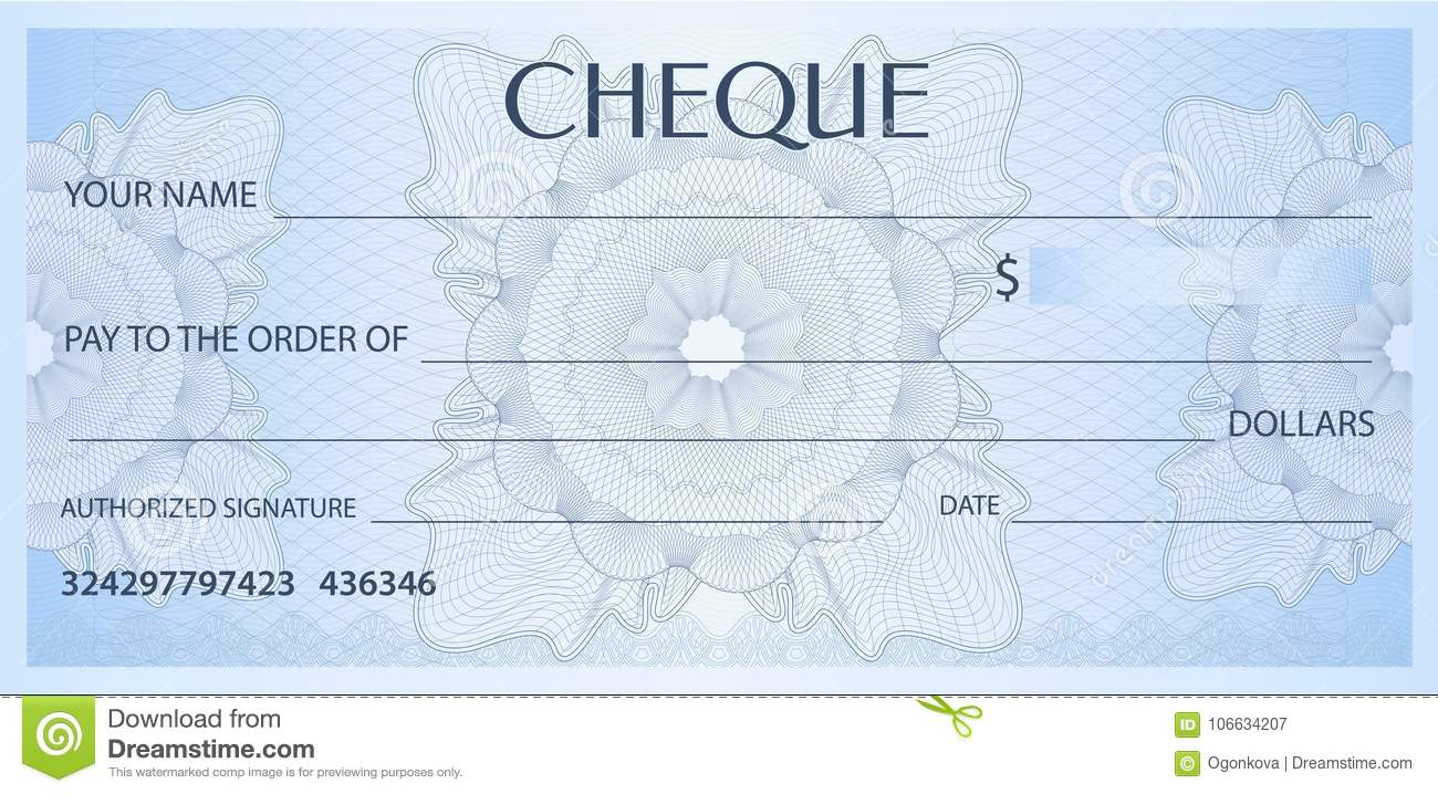 check cheque chequebook template guilloche pattern with watermark