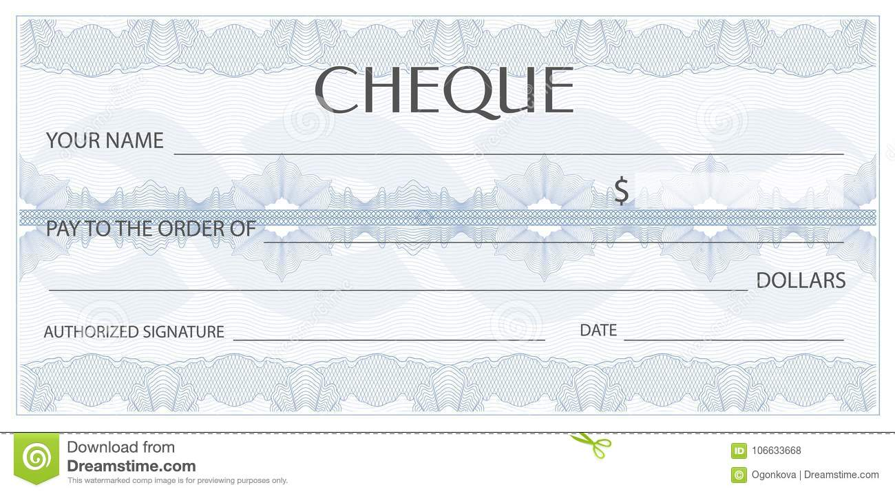 Check cheque chequebook template guilloche pattern with for Cheque voucher template
