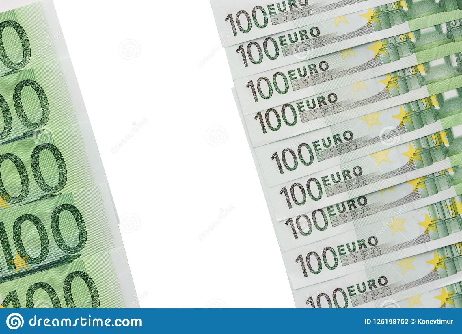 Background Of Banknotes In Nominal Value Of One Hundred Euros  P