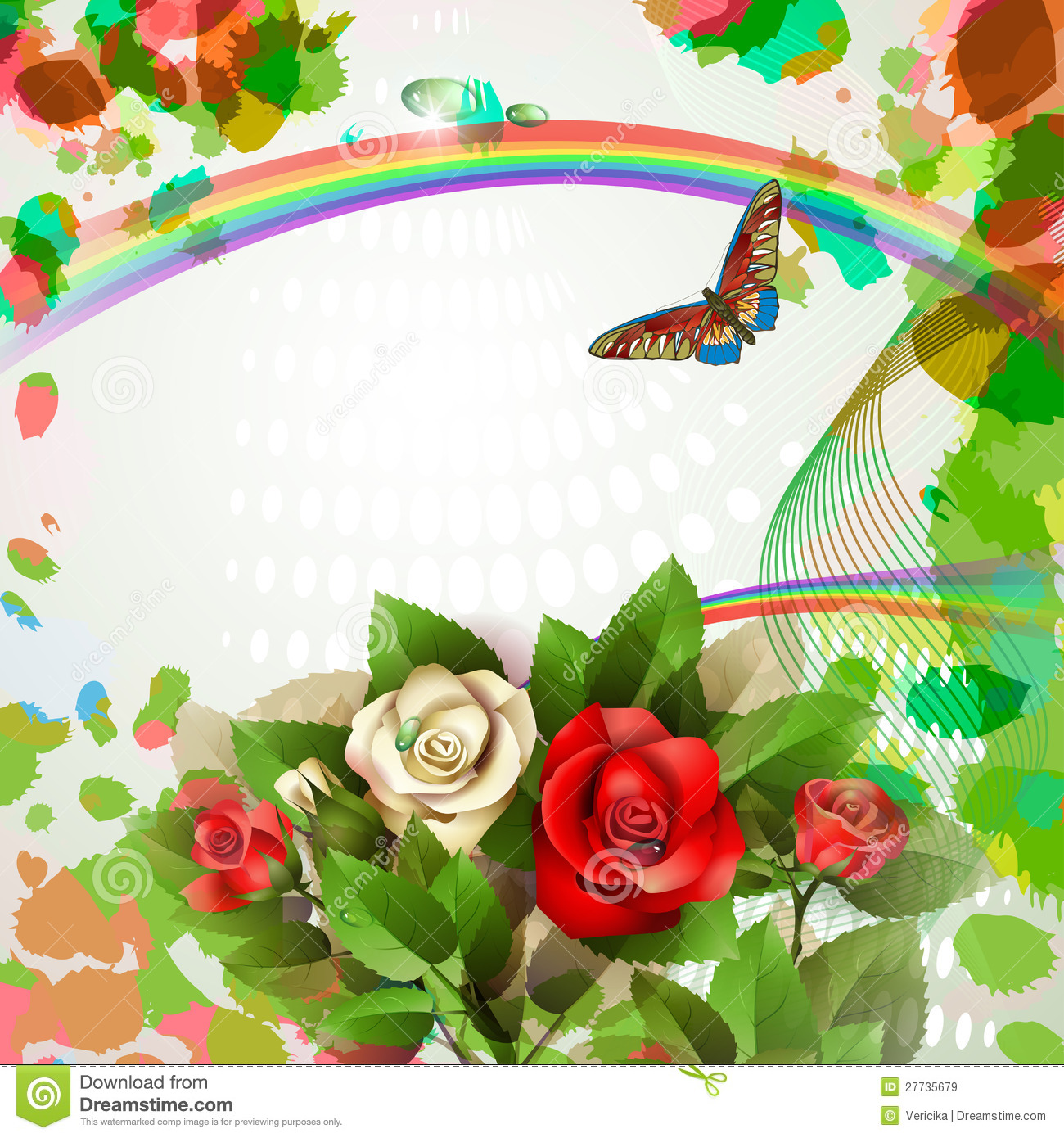 Background With Beautiful Roses And Butterfly Royalty Free ...