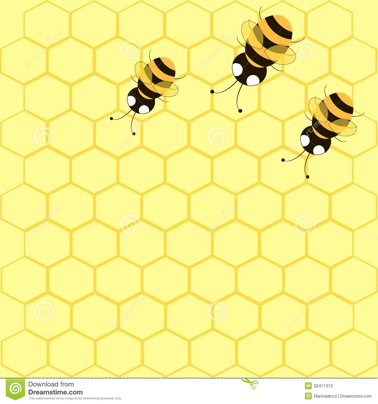 background with bees and honeycomb stock photography image 32411312