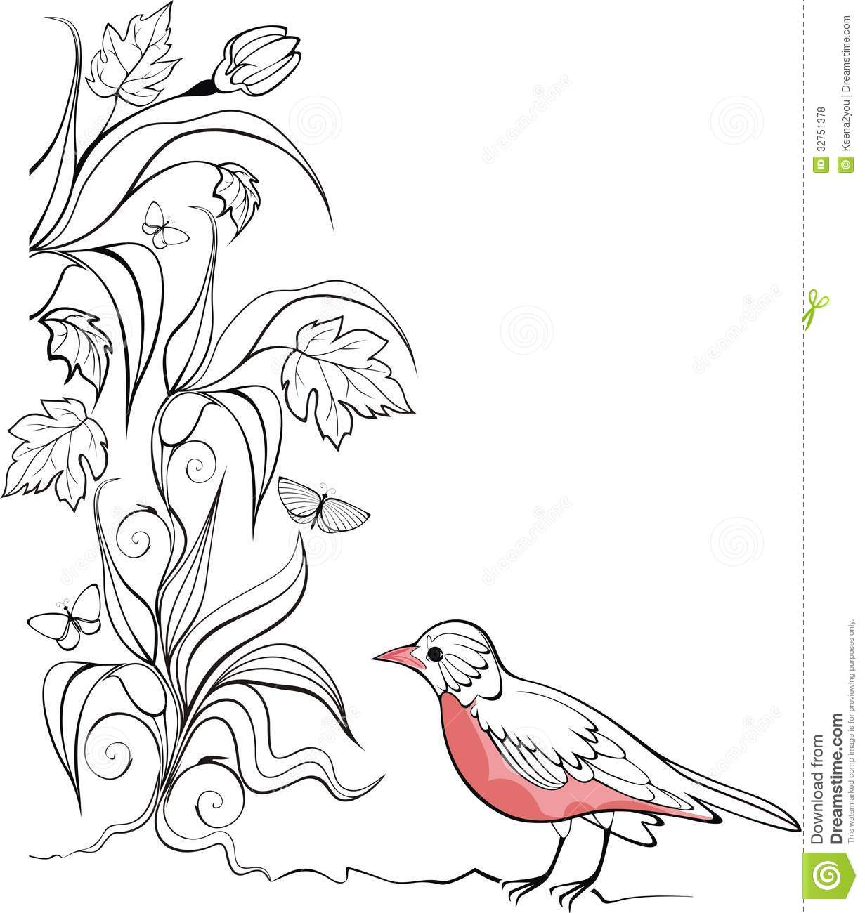 Background With Bird And Garden Plants