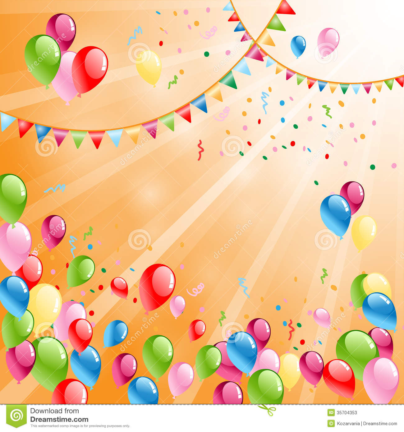 Beautiful celebratory background with colored balloons.