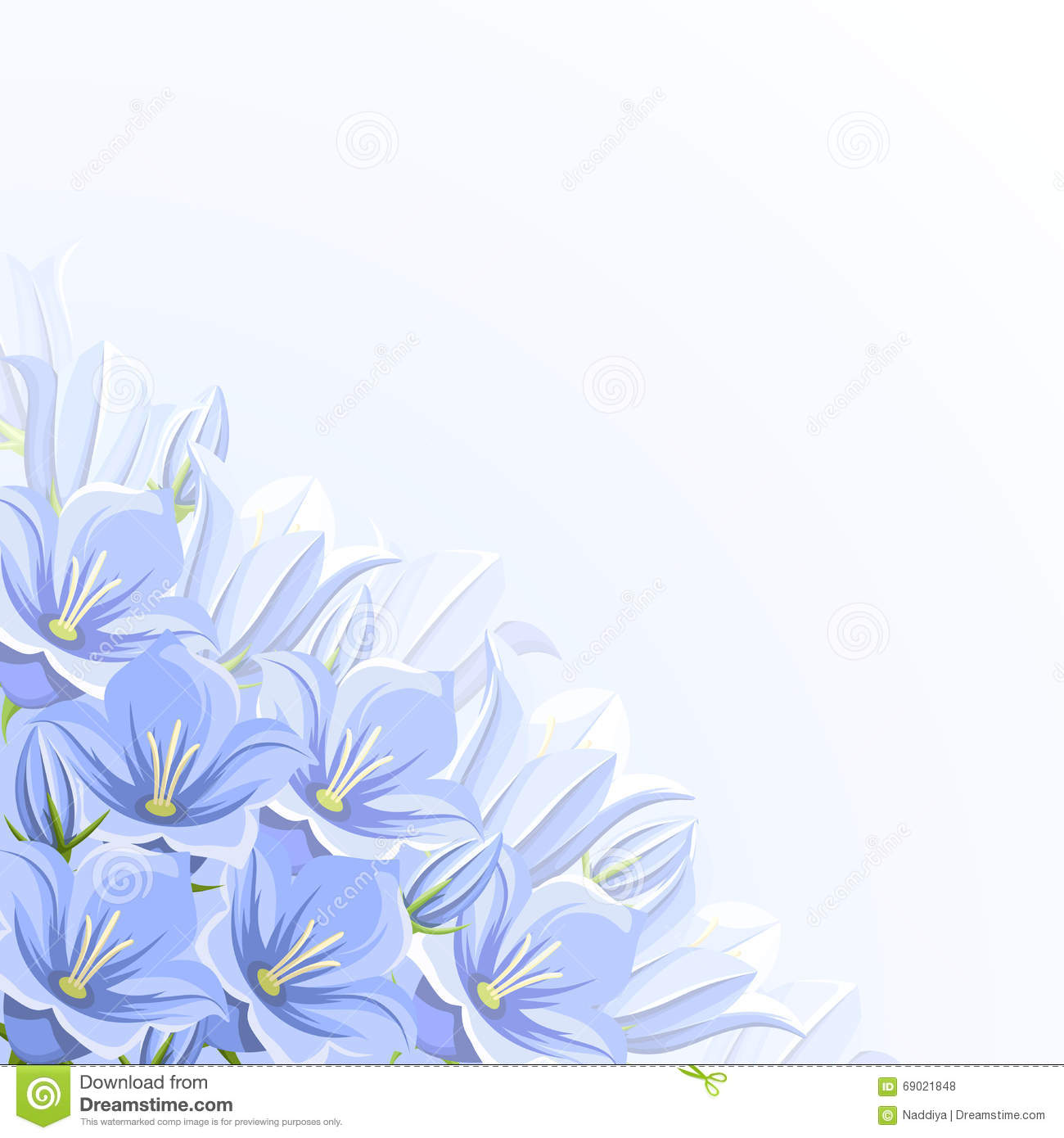Stock photo a cluster of blue bell like flowers in a summer garden - Background With Blue Bluebell Flowers Vector Illustration Royalty Free Stock Photos