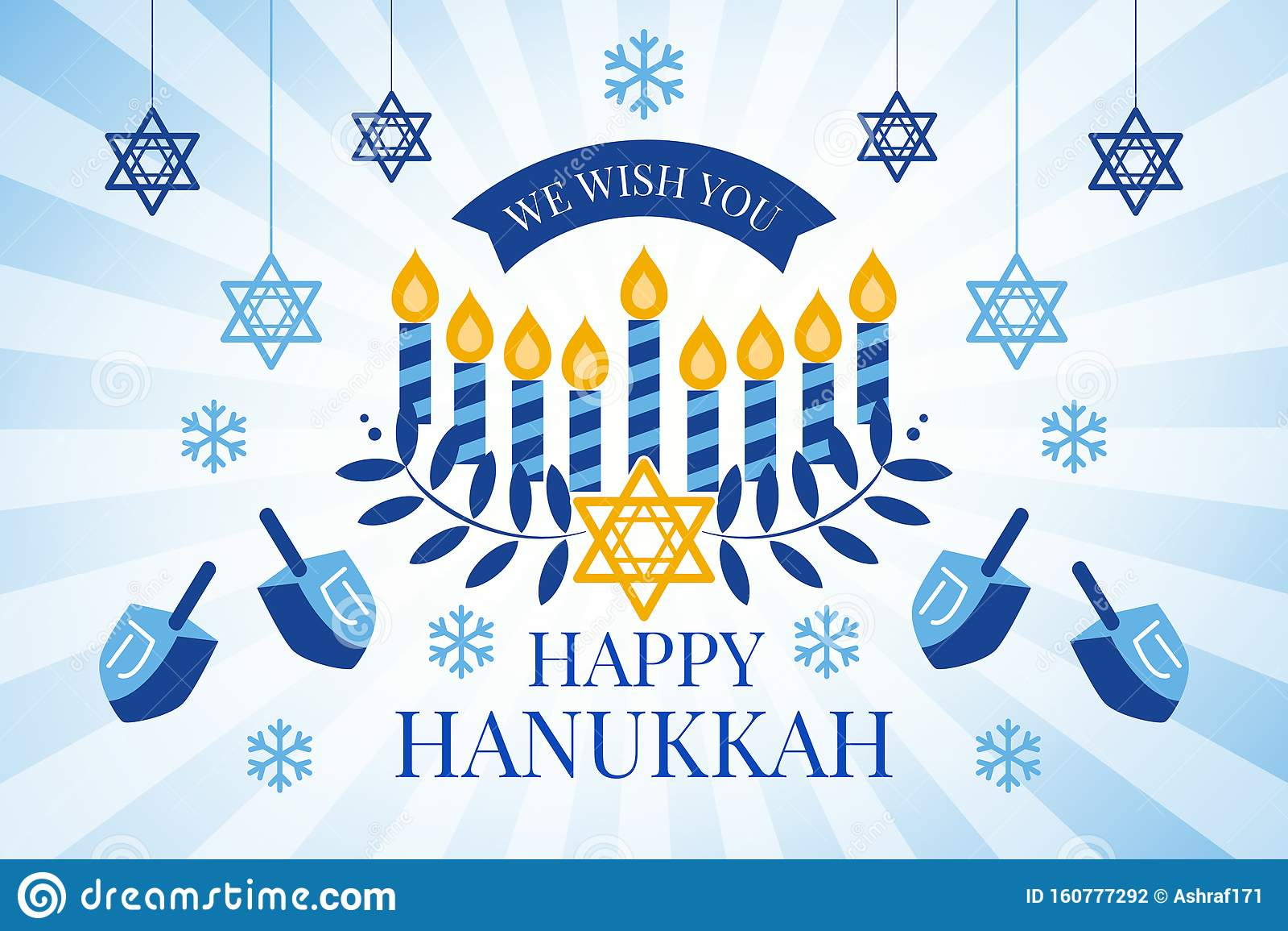 Happy Hanukkah greeting card with Torah, menorah and dreidels