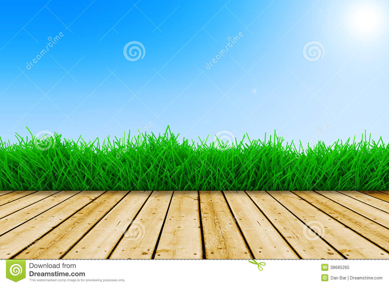 Background With Blue Sky And Green Grass Stock Image ...
