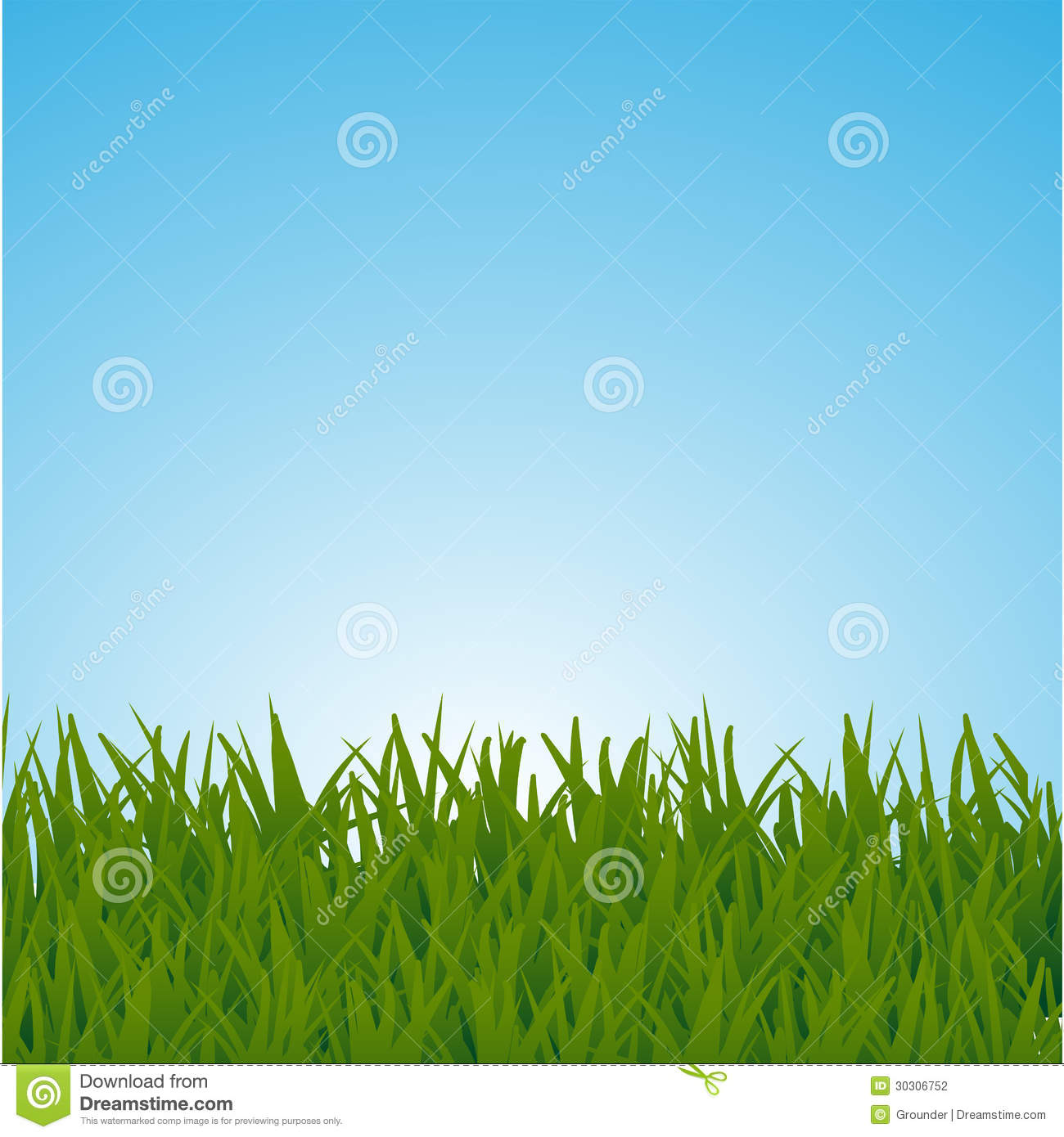 Background With A Blue Sky And Green Grass Stock ...