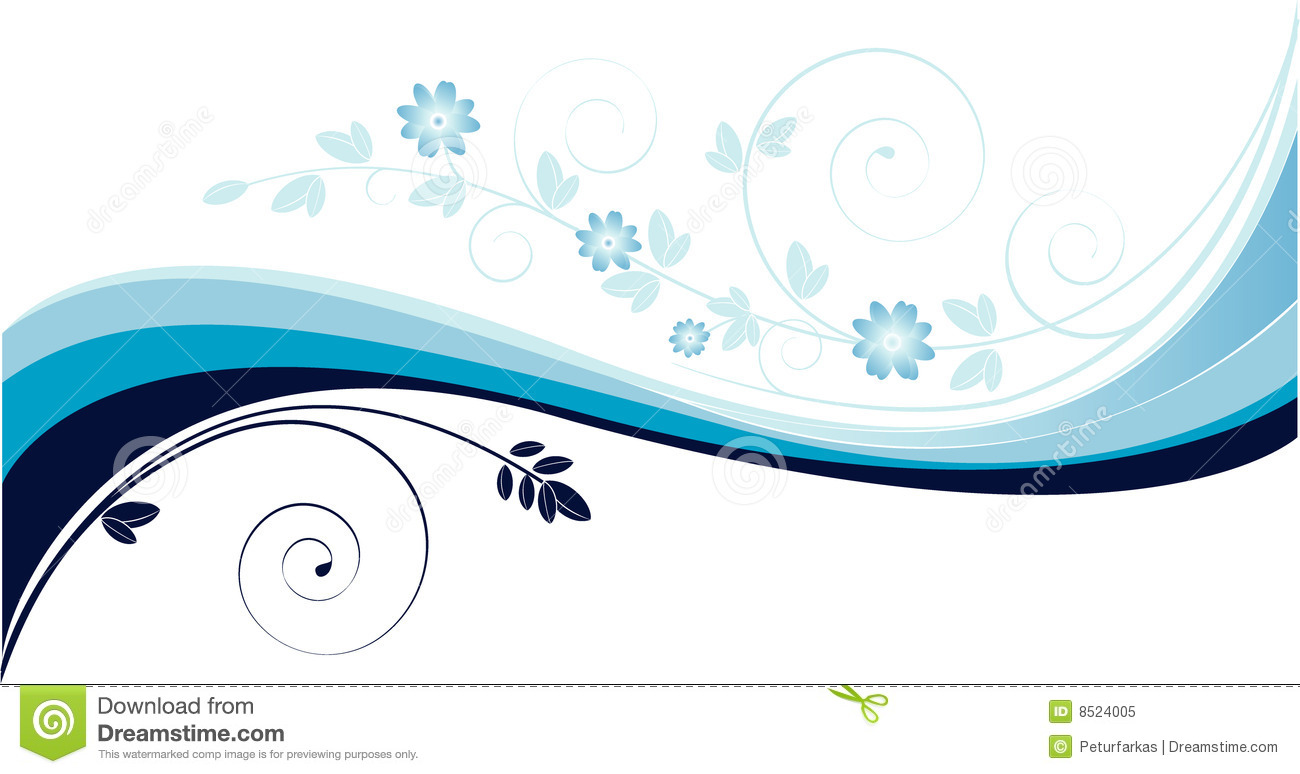 Background with blue waves and floral motives