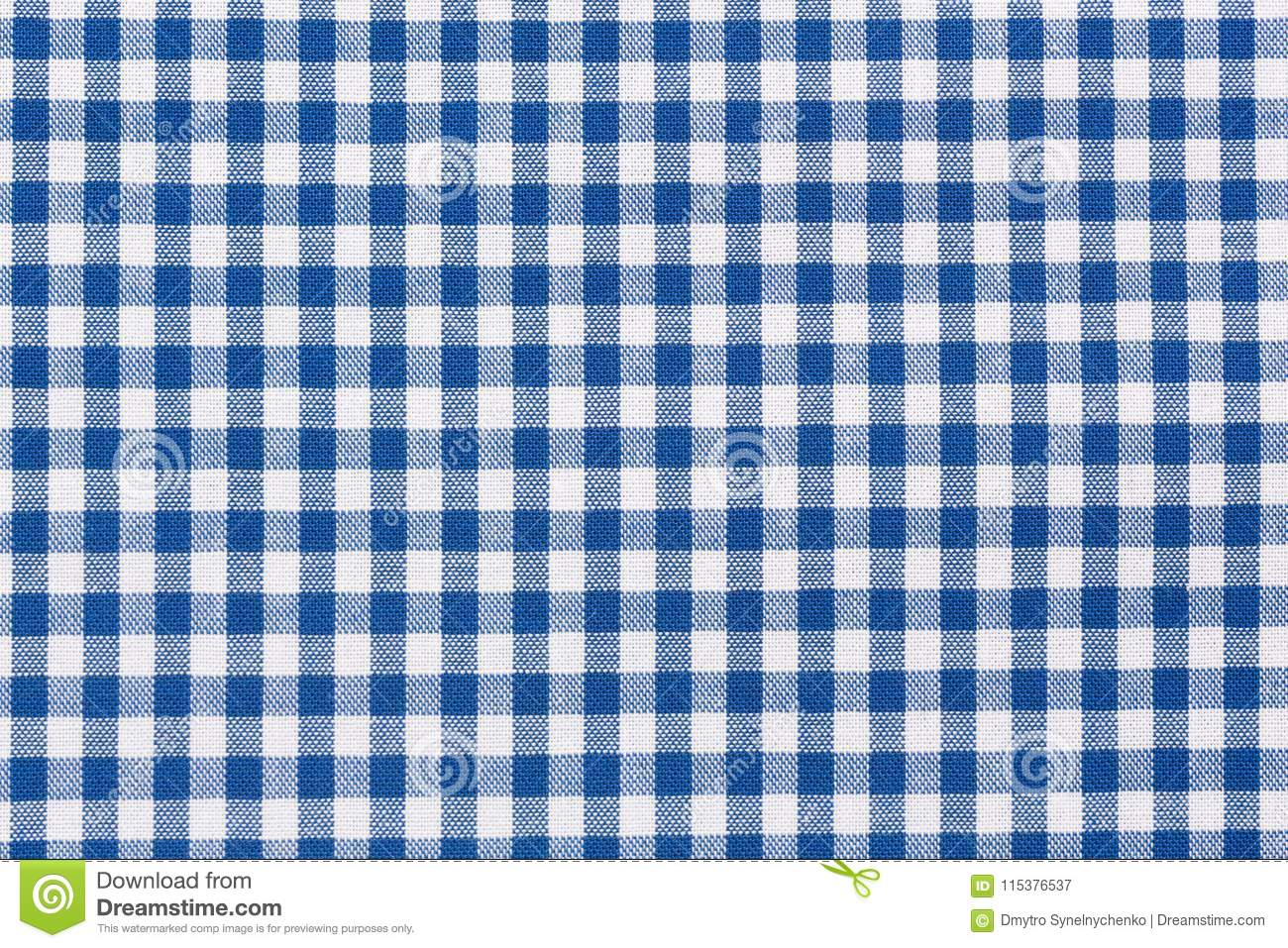 Download Blue And White Checkered Tablecloth. Stock Image   Image Of  Checkered, Macro:
