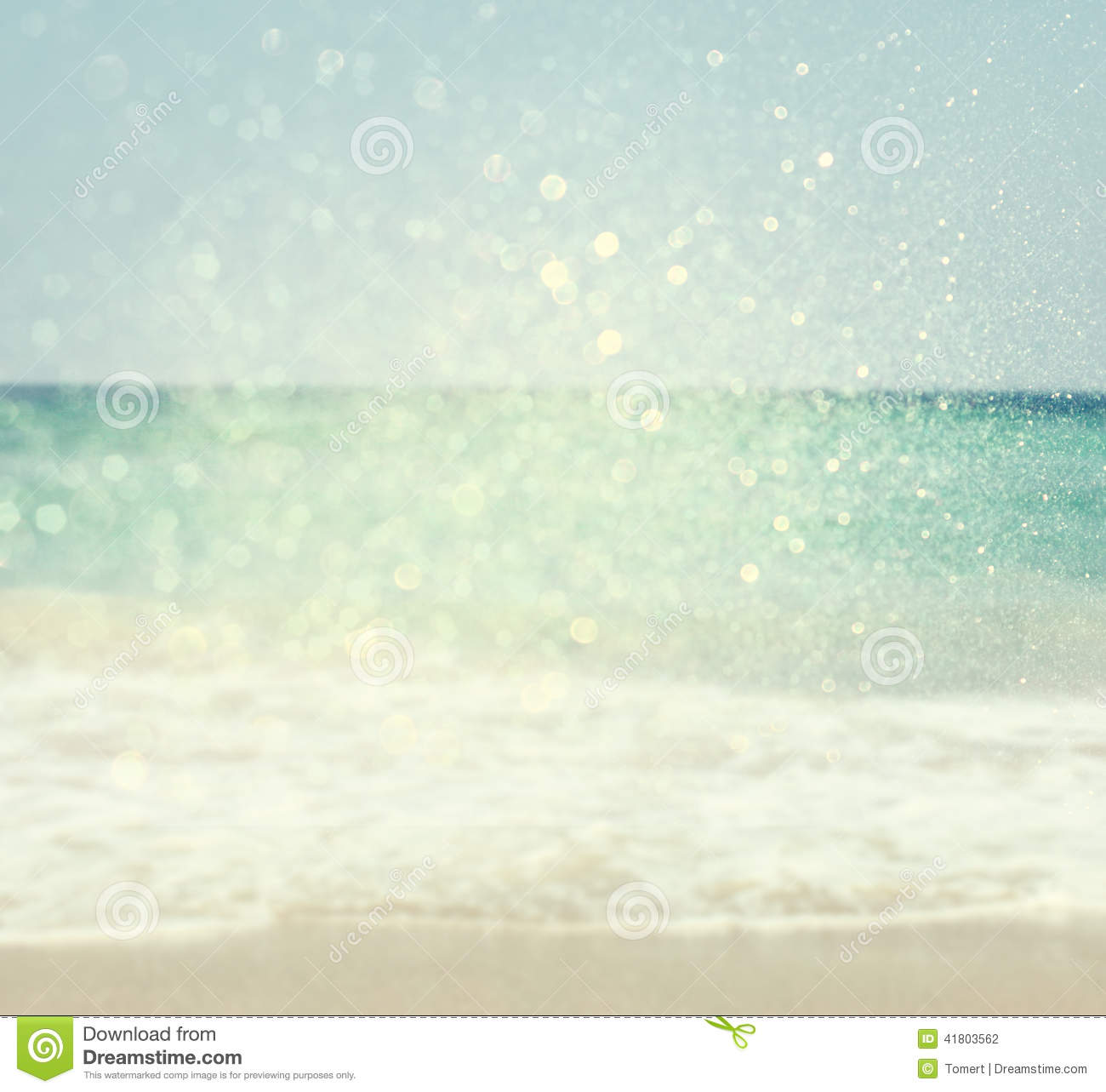 Summer travel card in retro style vintage vacation postcard with - Background Of Blurred Beach And Sea Waves With Bokeh