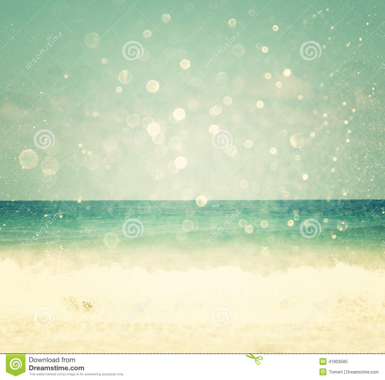 Background Of Blurred Beach And Sea Waves With Bokeh ...